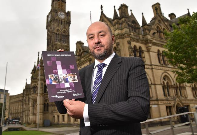 Councillor Imran Khan with Bradford Council's new skills report