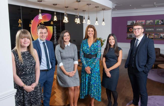 From left, Katie Wilcock, Connor Mennell, Lauren Barclay, Gordons partner Victoria Davey, Helen Starling and Sam Hudson