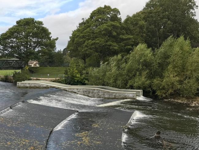 An artist's impression of how the Saltaire Weir Fish Pass could look