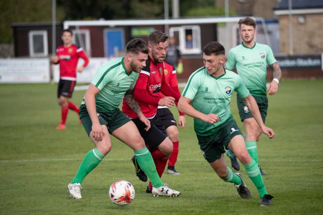 Aidan Kirby, middle, will be aiming to add to his goals tally when Silsden go to Maltby Main in the Toolstation Northern Counties East League Premier Division. Picture: David Brett