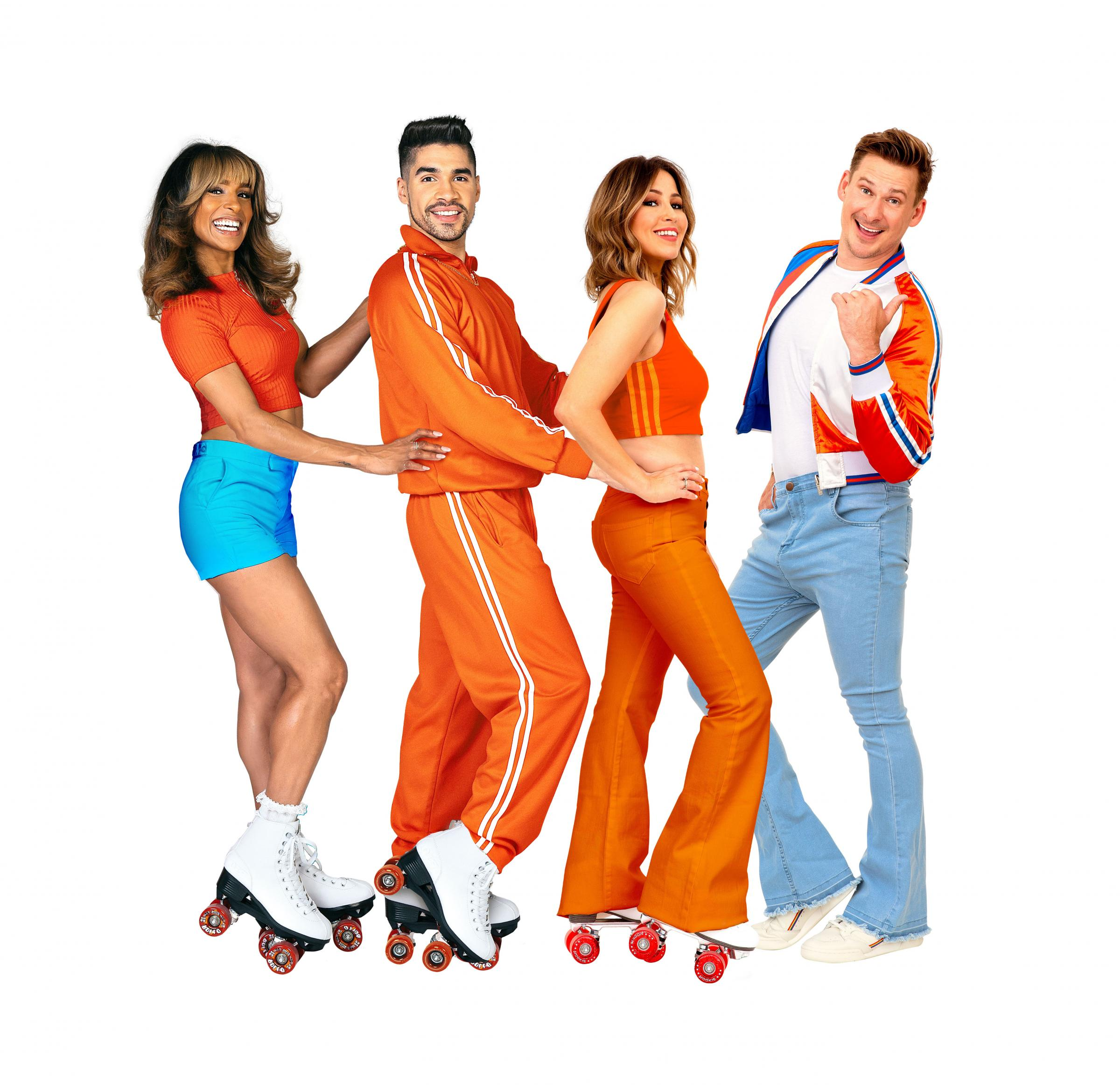 Lee Ryan, Rachel Stevens, Louis Smith and Melody Thornton in groovy 70s show