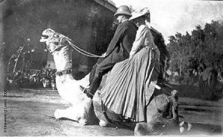 Louisa Pesel on a camel, taken on a trip to the Khyber Pass, India. Picture: Textile Research Centre