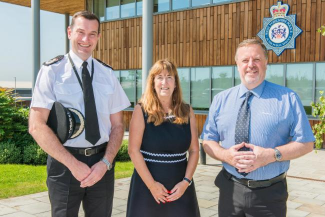 Chief Constable John Robins,Vice-Chancellor Professor Margaret A House and Police and Crime Commissioner Mark Burns-Williams