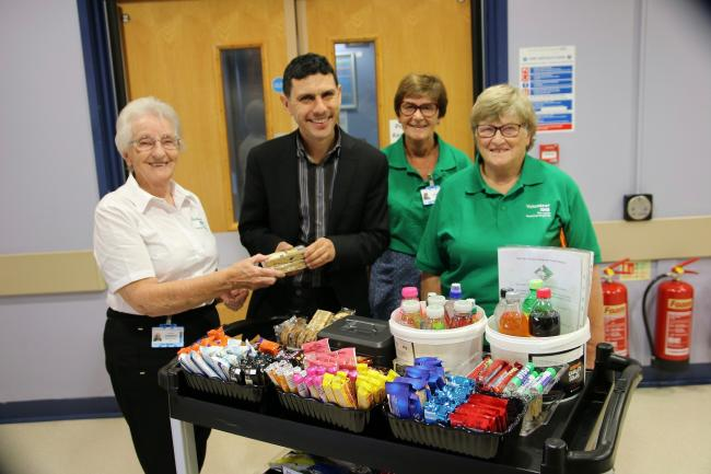 MP Alex Sobel with RVS volunteers running the new trolley service at Wharfedale Hospital