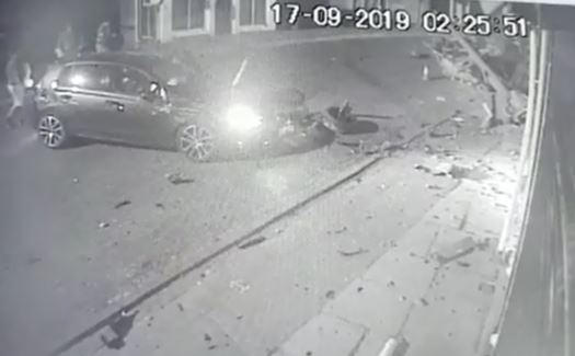 Dramatic footage of car's near miss with Queensbury shops