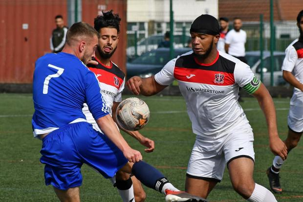 Haseeb Ahmed (right) was on target for Route One Rovers. Picture: Richard Leach.