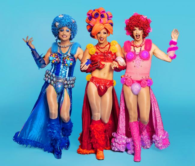 The cast of Priscilla Queen of the Desert. Picture: Darren Bell