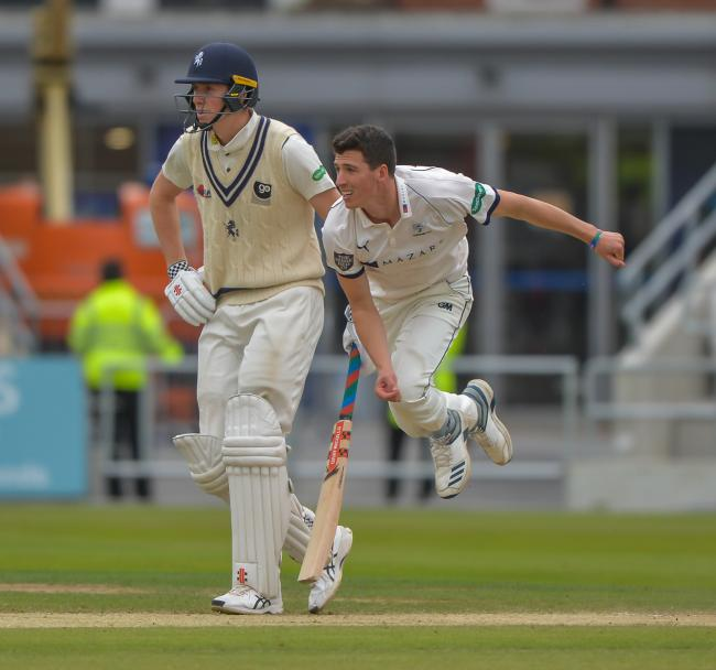Matthew Fisher (right) has been full of praise for Yorkshire's batsmen young and old, but he had an impressive game in his own right against Durham Picture: Ray Spencer