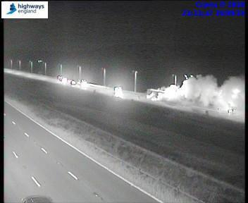 The fire on the M62. Picture: Highways England
