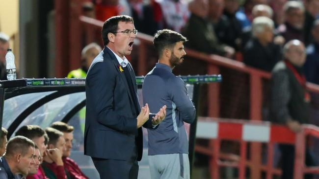 Gary Bowyer makes a loud point at Cheltenham. Pic: Thomas Gadd