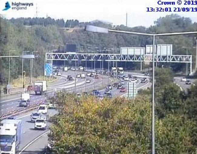 Traffic queuing at junction 25 of the M62