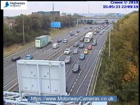 Traffic queuing on the westbound carriageway