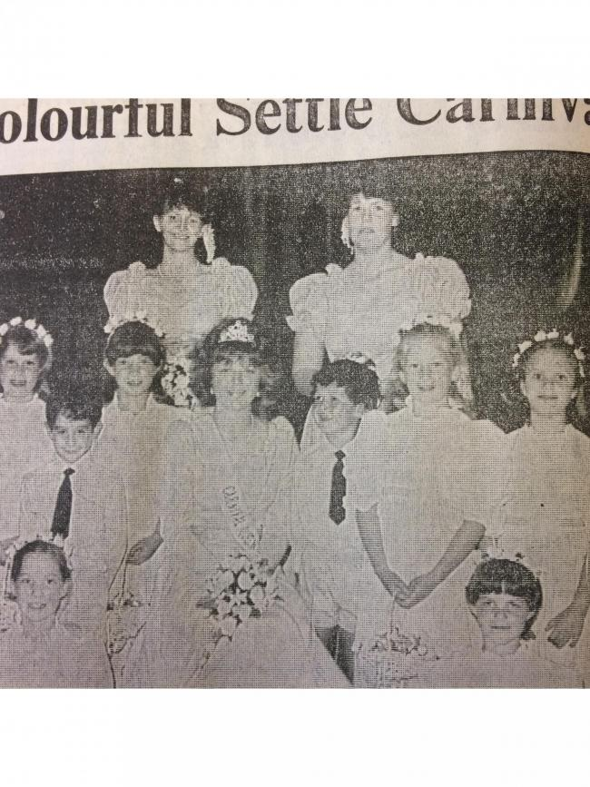Settle Carnival Queen Patricia Knights, centre, with attendance, in 1986
