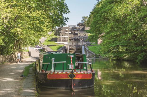 Bradford Telegraph and Argus: Bingley's popular canal scene, Five Rise Locks