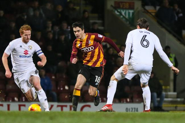 Former Bradford City star Alex Gilliead (centre) now plies his trade at Scunthorpe United Picture: Thomas Gadd
