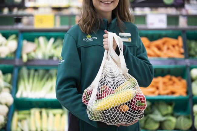 Morrisons is bringing back string bags to allow customers to a plastic-free way of carrying home loose fruit and vegetables. Picture: Fabio De Paola/PA Wire