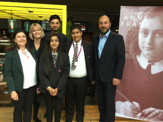 SUSOMAD launch with (L to R) Jenny Fox from Bradford Council; Grace Nelson from the Anne Frank Trust; Salim Akhtar, from Bradford Council; Ambassadors Maliha and Sulaiman from Beckfoot Upper Heaton; and Cllr Imran Khan
