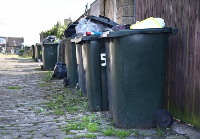 Bins waiting for collection in Eccleshill