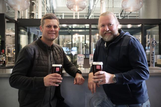 Ossett Brewery's new managing director Alex Minett and the brewing firm's owner Jamie Lawson