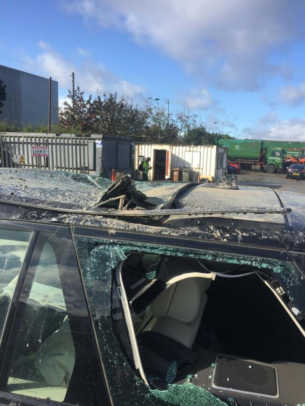 Bradford Telegraph and Argus: The damage to the Range Rover
