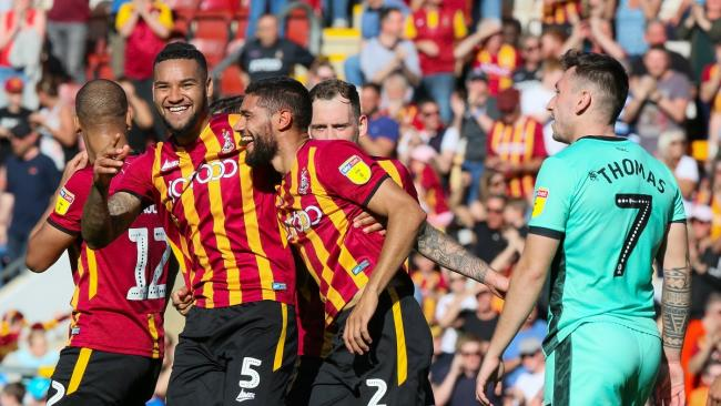 Bradford City have already beaten lowly Carlisle United this season, with Kelvin Mellor (2) celebrating his goal in the home side's 3-1 win at Valley Parade Picture: Thomas Gadd