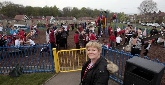 Headteacher at Lowerhouses Junior, Infant and Early Years School, Rachel Shaw at the playground on Hall Cross Road Lowerhouses who is concerned about council plans for play equipment to be removed and replaced with logs and rocks..