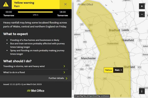"Bradford Telegraph and Argus: The MET Office has released another yellow ""severe"" weather warning for Bradford on Friday. Pic: MET Office"