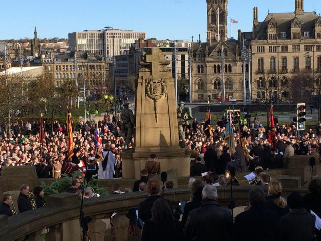 The Remebrance Sunday service at the Bradford War Memorial