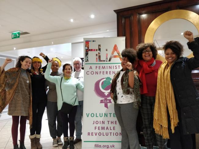 Brazil's Tatiana Nascimento and Alane Teixeira Reis (2nd and 3rd from right) will address patriarchy and racism at the conference