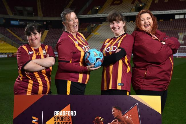 Bradford City Disability FC Women's Team, runners up in the FA People's Cup in 2018 and 2019. Left to right: Louise Hudson, Louise Lawrence, Katy Greenwood and Jaimie Dorward