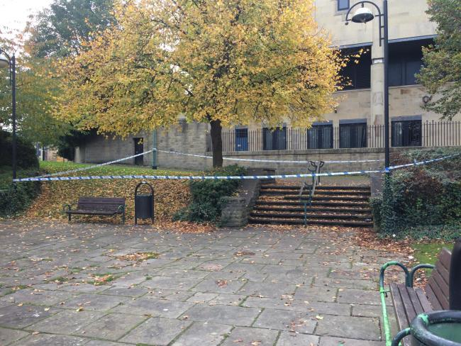 A cordon in place by Bradford Crown Court