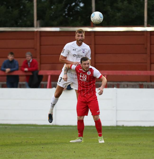 Farsley loan player Tom Allen, pictured winning an aerial challenge for parent club York City, was on target for the Celts  Picture: Gordon Clayton