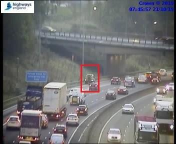 The broken down vehicle in lane one of the M62, between junction 26 (Chainbar) and junction 27 (Gildersome). Pic: Highways England