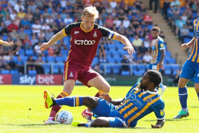 Josh Wright in action for City at Shrewsbury on the opening day of last season