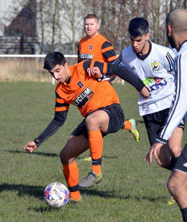 Kamran Khan, third left, netted two for Toller as they recorded a stunning 8-2 home win over high-flying Stanley United Picture: Richard Leach