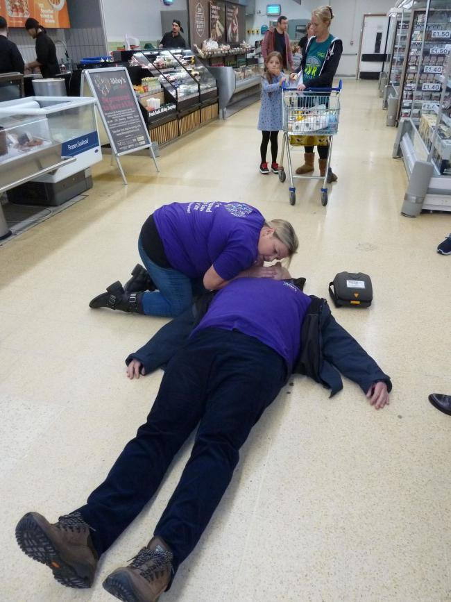 CPR being carried out in Tesco in Ilkley