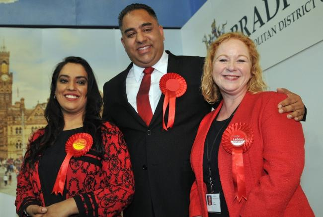 Naz Shah, Imran Hussain and Judith Cummins pictured at the last election count