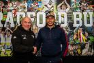Greg Johnson, right, has joined Bradford Bulls from Super League side Salford Red Devils and is welcomed by head coach John Kear