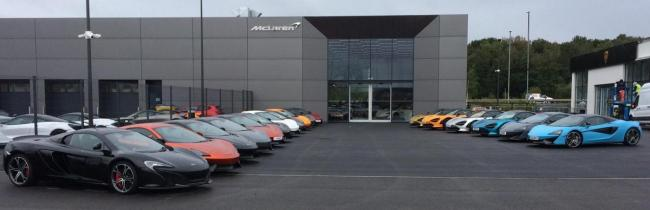 A line-up of stunning cars outside the Leeds showroom