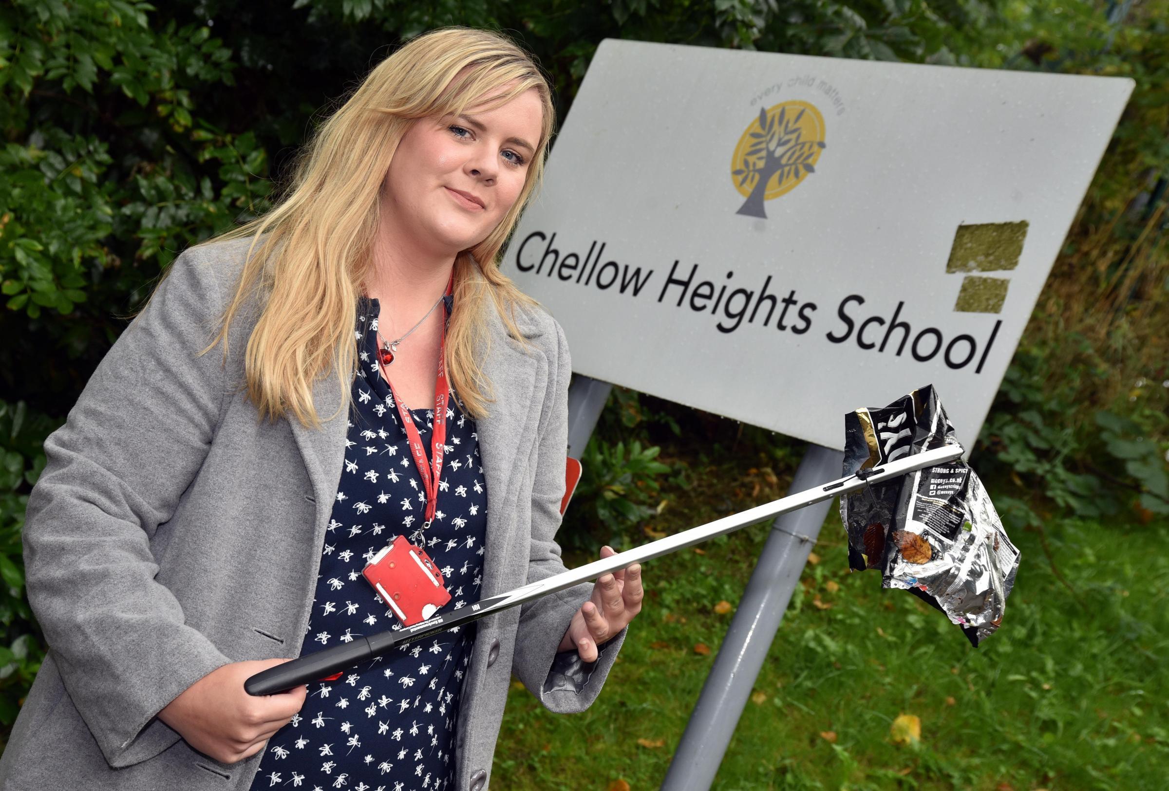 Bradford teacher fundraising for communication books with litterpicks