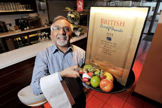 Amjad Bashir, pictured in 2008 when the Zouk Tea Bar and Grill in Bradford was awarded 5 stars from the British Curry Awards