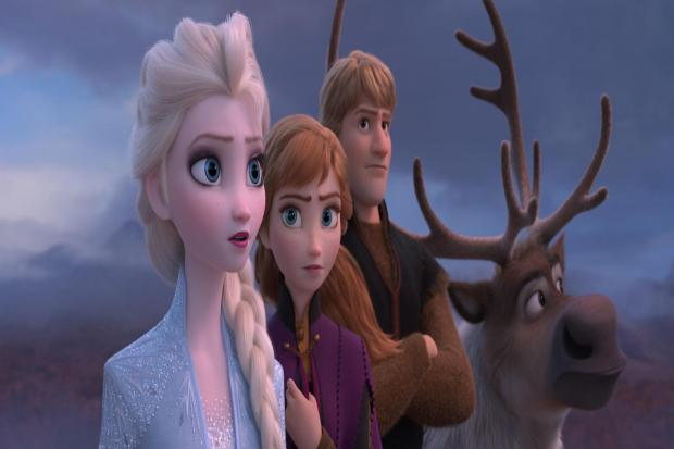 Elsa (voiced by Idina Menzel), Anna (Kristen Bell), Kristoff (Jonathan Groff) and Sven the reindeer. Picture: PA Photo/Disney
