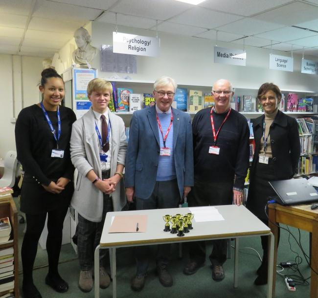 Head students Adel Watt and Alex Gasson-Gray with Otley Rotary Club members and Headteacher Janet Sheriff