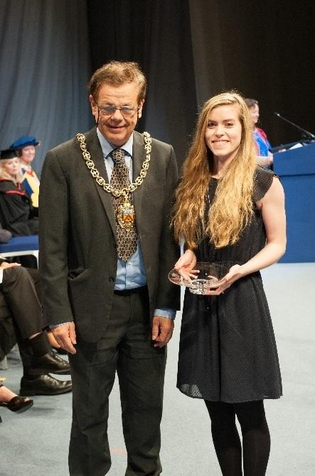Megan Stone is pictured with Cheltenham Mayor Cllr Roger Whyborn