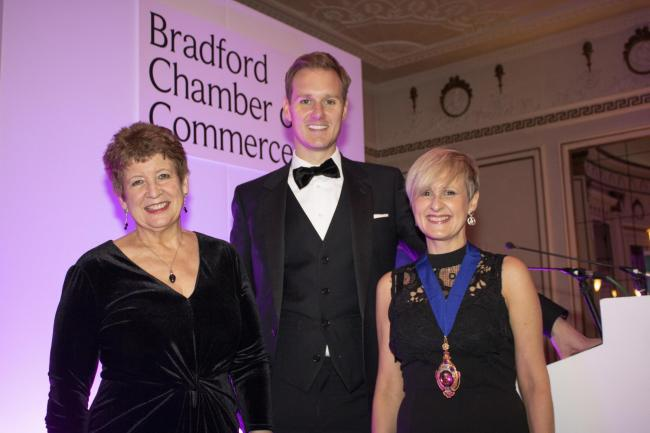 Pictured from left: Sandy Needham, Dan Walker and Suzanne Johns at the Bradford Chamber dinner