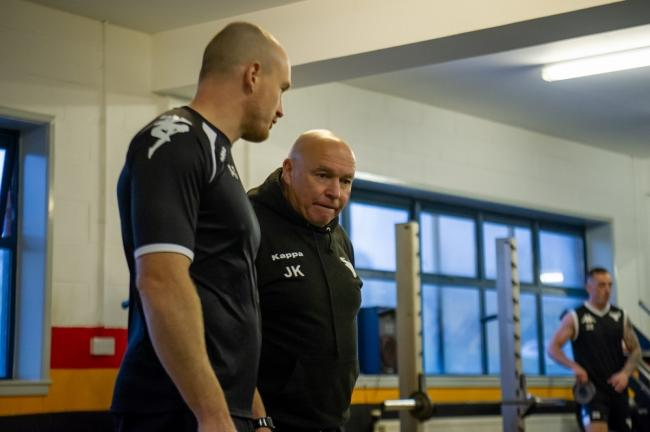 Head of strength and conditioning Adam Simpson, left, with Bulls coach John Kear
