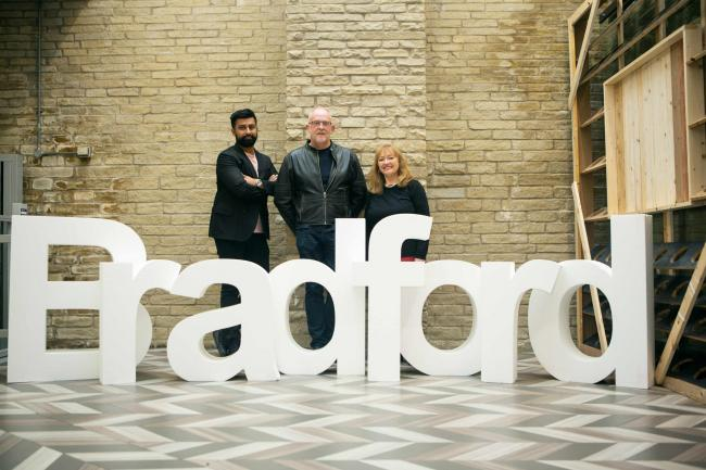 New City of Culture bid director Richard Shaw (centre) with steering group directors Kamran Rashid and Mary Dowson