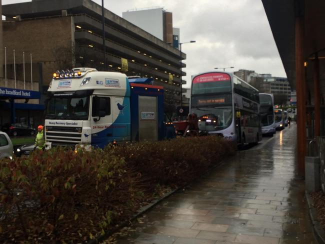 City centre traffic disrupted by broken down bus