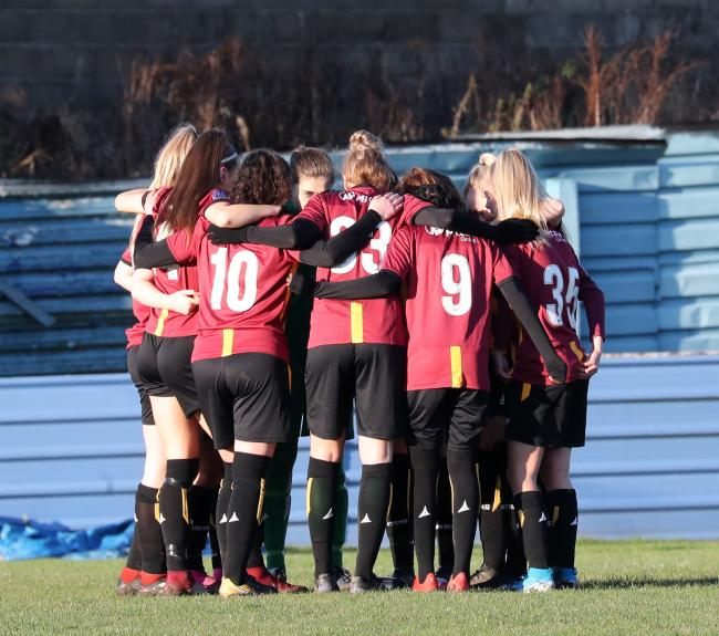 Bradford City Women in a huddle before a game against Liverpool Feds last season Picture: Alex Daniel