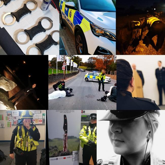 Snapshots from PC Sarah Barberini's working life. Collage posted on her Twitter feed.
